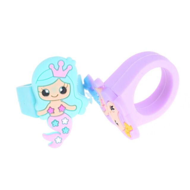 Pvc Rubber Cartoon Mermaid Princess Kids Rings Children Silicone Ring Toysf KW