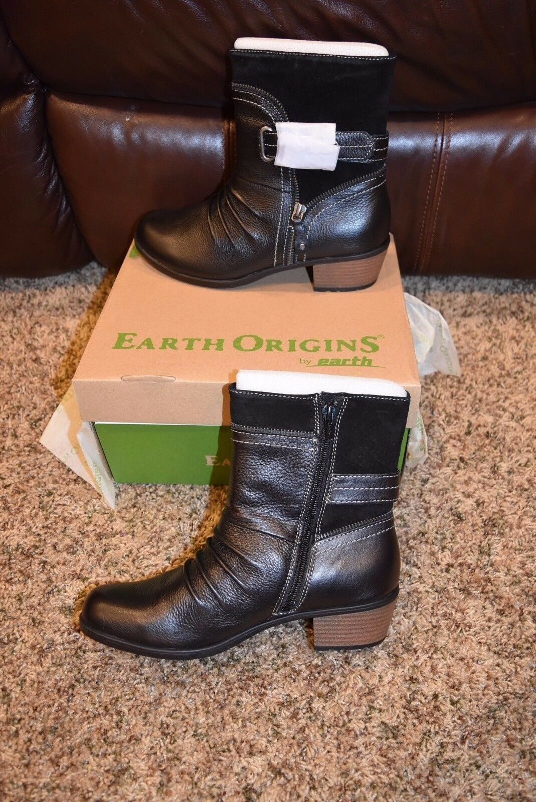 EARTH ORIGINS DOLLY Damenschuhe 9M BLACK SOFT MACCHIATO SUEDE & LEATHER ANKLE BOOTS