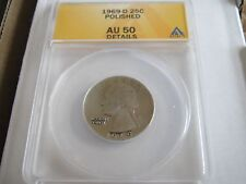 1969-D , Washington Quarter , Anacs , Au 50 , Polished