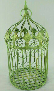 Antico Decorazione Gabbia per Uccelli IN Metallo Piante Fiori Verde (G)