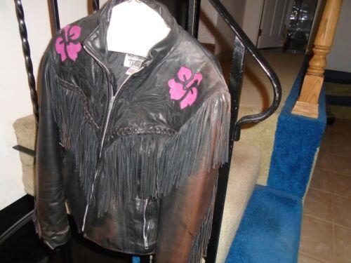 Vintage Dallas Black Leather Women's Fringed Jack… - image 1