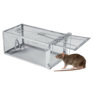 Piege-a-Rats-Cage-Argente-Petits-Animaux-Rongeur-Souris-Controle-Appats-Capture