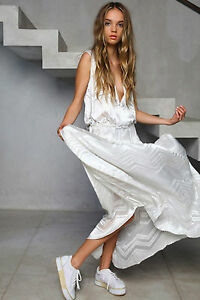 Shakuhachi-Designer-Maxi-Dress-Burn-Out-Ice-White-NEW-NWT-Size-8-S-RRP-290