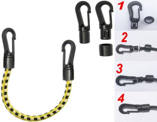 5 mm Cordon Élastique Choc Corde Élastique Fin Crochets en Plastique Noir Facile Rapide Auto Fit