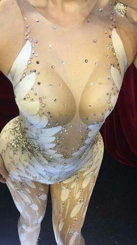Women White Feather Jumpsuit Nightclub Party Bodysuit DJ Singer Sexy Costume