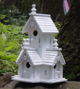 Birdhouse shabby distressed white wood victorian style for Bird house styles