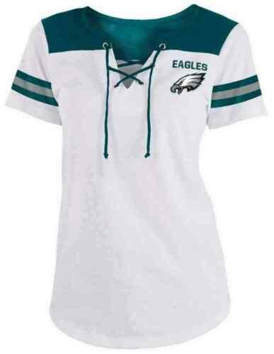 New Era Womens NFL Philadelphia Eagles Lace-Up Tee T-Shirt Stripe Sleeve C40061L