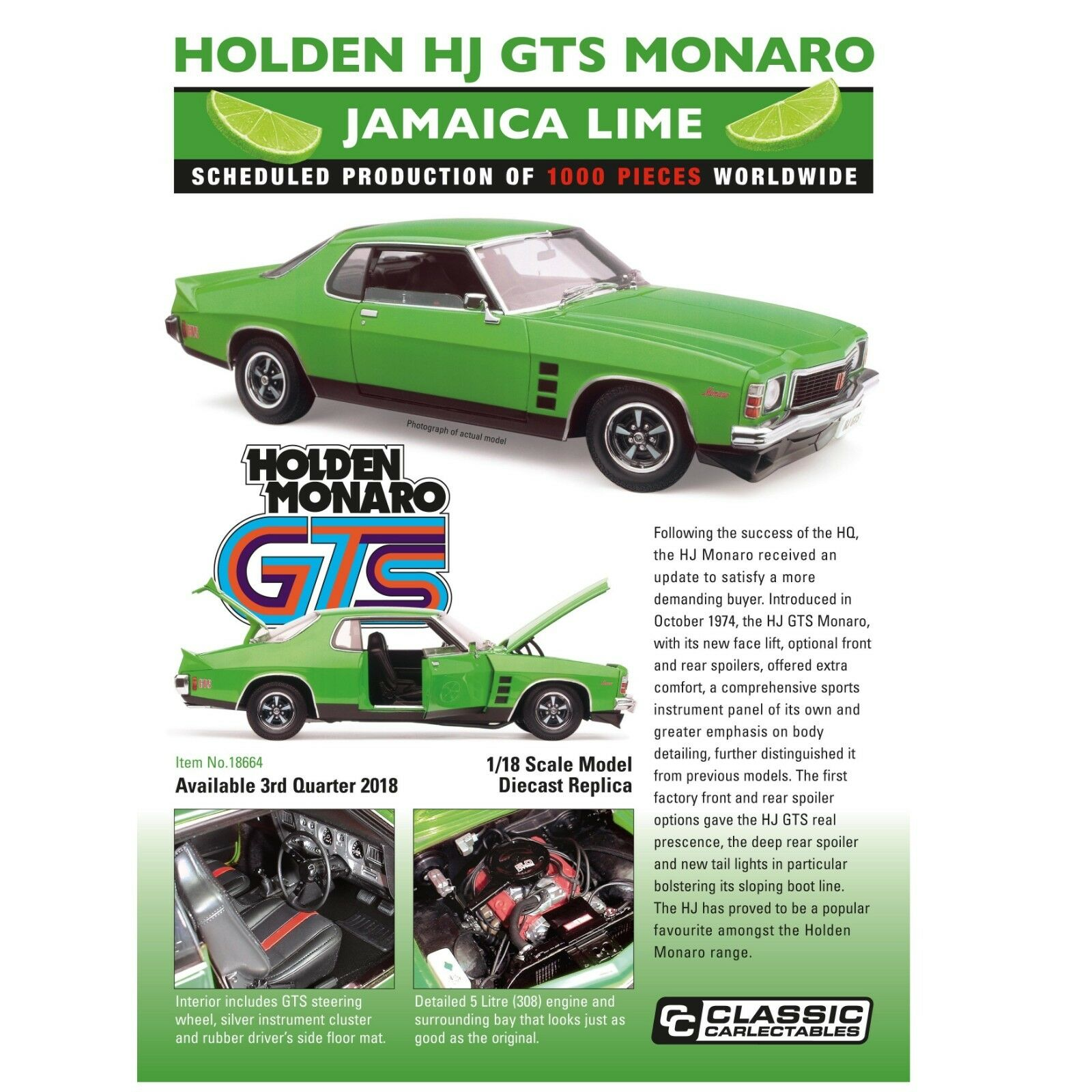 Classic Carlectables 1 18 Scale Holden HJ GTS Monaro Coupe in Jamaica Lime