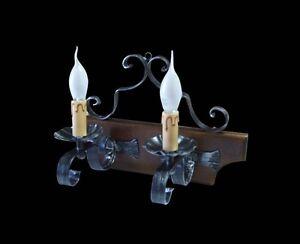 Applique rustico in ferro battuto e legno a 2 luci coll. bga 1167 ebay