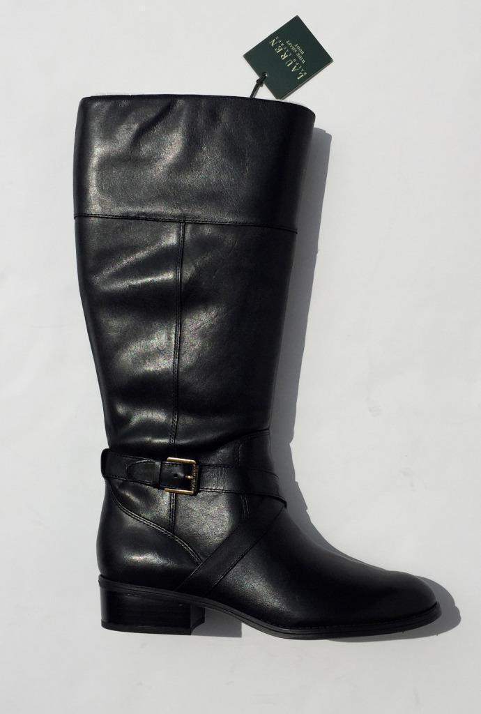Lauren Ralph Lauren Maryann tall riding boots  179  black NEW WIDE  9.5 9 1/2