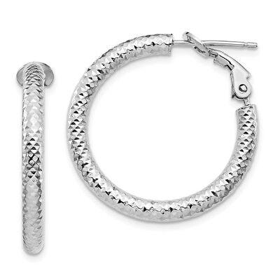 Leslies Real 14kt 3x10 White Gold Diamond-cut Round Hoop Earrings