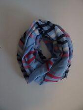 Tommy Hilfiger Women's Blue Multi Cotton Blend Infiniti Loop Scarf Wrap SALE