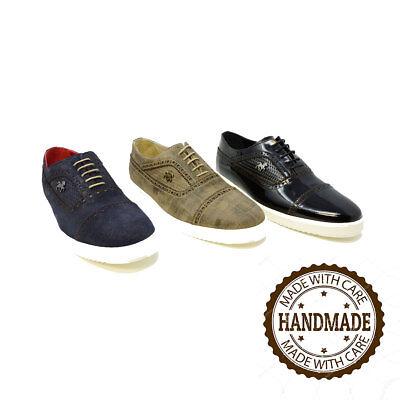 57889b881e6d1 Futoli-Men Genuine Leather Oxford Cap Toe Trendy Fashion Sneakers | eBay