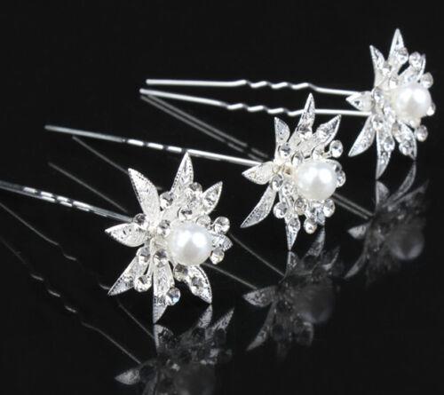 Sposa perla capelli aghi fiori Strasse Tiara Zirconia Gioielli per Capelli