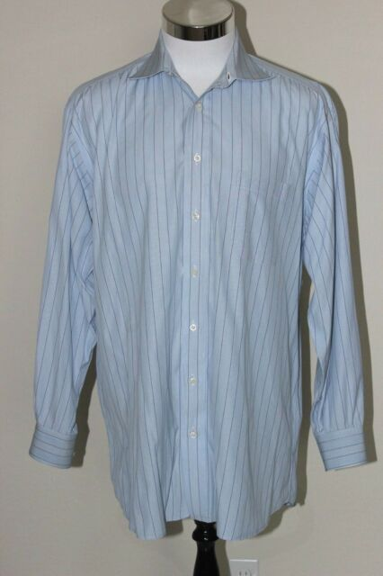 BURBERRY LONDON Men's Blue Stripe Purple Dress Shirt Sz 16.5 / L EUC