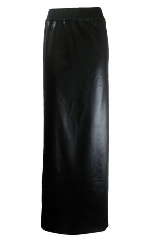 Womens PVC Wet Look Black Long Gypsy Maxi Skirt Ladies Faux Leather Shinny Skirt