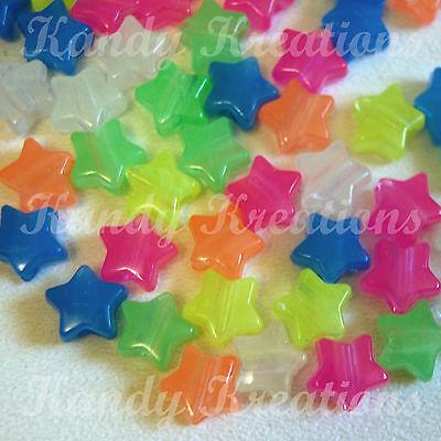 100 Glow In The Dark Stars Pony Beads for Kandi Bracelets 13mm Craft Rainbow Kid
