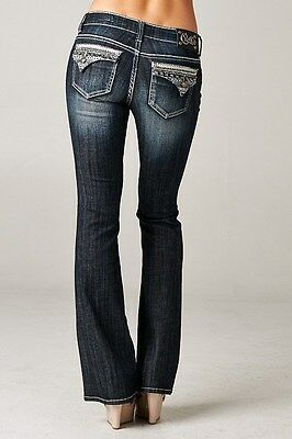 Cello Jeans Dark wash bootcut jeans with a fully detailed backflap
