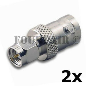 2-Pack-SMA-Male-Plug-to-BNC-Female-RF-Coax-Antenna-Adapter-Converter-Connector