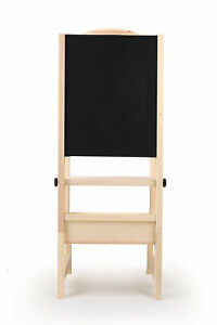 Details About Kids Step Up Kitchen Helper Wooden Stool Chair With Board For Learning Children