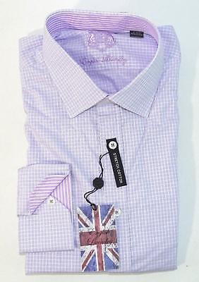 English Laundry Men/'s Arrogant Elegant Dress Shirt Lavender Checks New 2.99 Ship