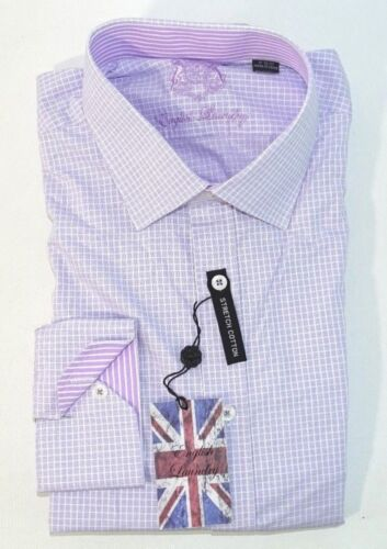 English Laundry Men's Arrogant Elegant Dress Shirt Lavender Checks New 2.99 Ship