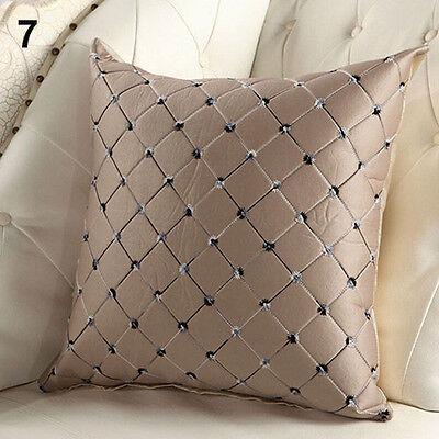 "17"" Embroidery Lattice Plaid Grid Throw Pillow Case Home Deco Sofa Cushion Cover"