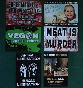 6 X STICKER SET - VEGAN - FESTIVAL - HEALTH - FOOD - ANIMAL LIBERATION - LOVE