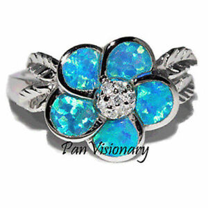 Blue-Green-Flower-Ring-Lab-Opal-Plumeria-CZ-925-Sterling-Silver-size-7-5-only