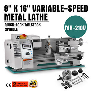 8 X 16variable Speed Mini Metal Lathe Bench Top Digital Rpm 750w