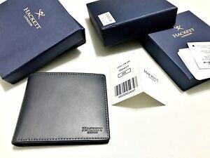 Bnib Hackett 'portland' Wallet 595 Navy Billfold Leather Note Rrp £99 Kleidung & Accessoires
