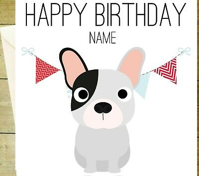 Personalised Spaniel happy birthday card greetings dog doggy name glitter
