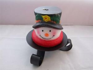 Christmas-Candle-Snowman-with-Black-Hat-includes-Black-Iron-Candle-Holder