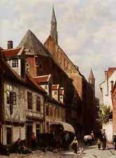 Springer Cornelis A Busy Street In Bremen With The Saint Johann Church In The Ba
