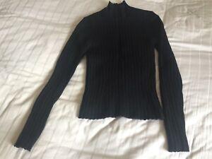 39e74f3d0 Jigsaw Black 100% Wool Black Polo Neck Chunky Knit Jumper Size S