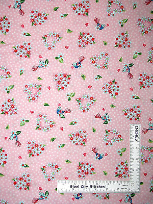 Birds Flowers Hearts Pink Cotton Fabric Toss Red Rooster Rainbow Woodland ~ Yard