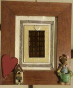 Handmade Artisan Upcycled Beautiful Bright Birdhouse with Bear