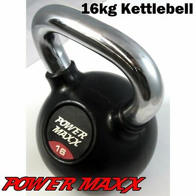 POWER MAXX 16kg Kettlebell Kettle Bell Workout Iron Weights Training Fitness Gym
