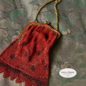 Antique-Vintage-Dark-Cherry-Red-Mesh-Evening-Purse-Glass-Tips-on-Clasp