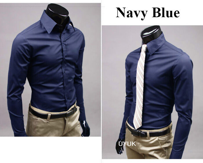 Navy Blue ★ Candy Color Stylish Dress Shirts