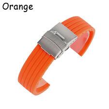 f76356374a4 Bracelet Waterproof Silicone Rubber Watch Strap Deployment Buckle 18 20 22  24mm