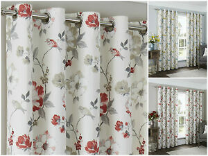 Anya-Eyelet-Lined-Curtains-Vintage-Retro-70s-Floral-Trail-Chic-Leaf-Bird-Blossom