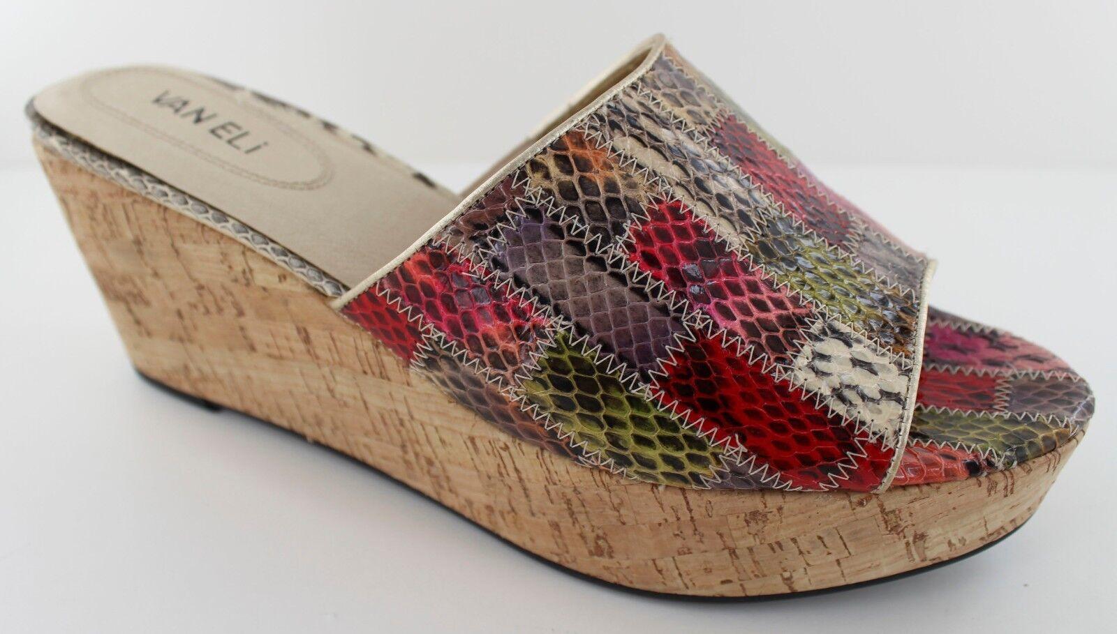 Van Eli Roelle Womens Multi Color Leather Open Toe Slide Heel Sandal Size 10 NEW