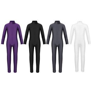 Girl-Long-Sleeve-Ballet-Dance-Gymnastics-Kids-Catsuit-Bodysuit-Dancewear-Costume