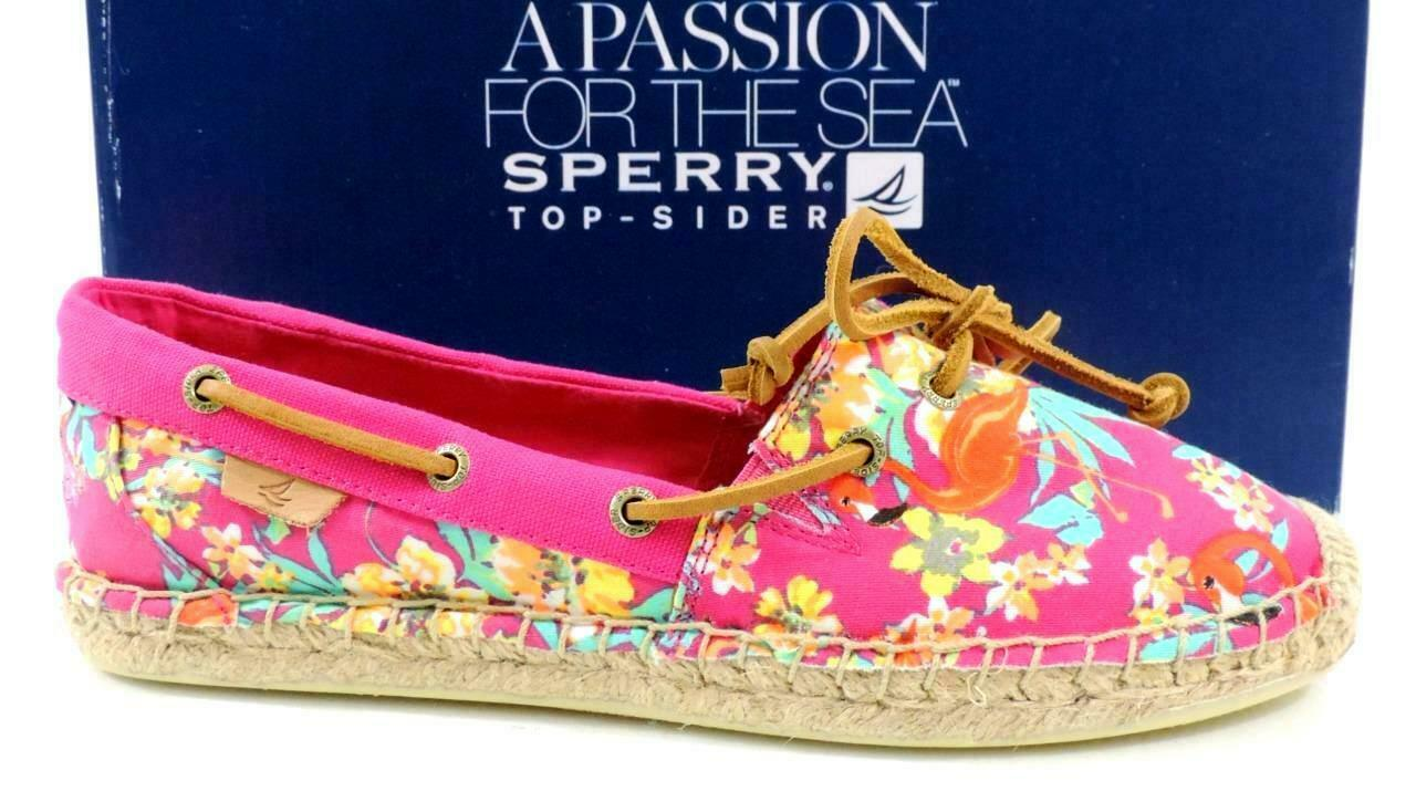 Womens Sperry Top Sider Katama Slip On Flat Espadrille Pink Floral Size 6.5