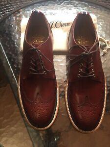 83b2b77414070 J crew Oar Stripe Italian leather shortwing derbys size 8 Medium | eBay
