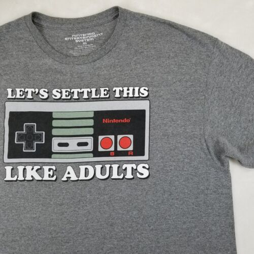 "RARE Nintendo ""Let's Settle This Like Adults"" T-sh"