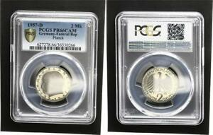 2 DM Currency Coin Max Planck 1957 D Pf PCGS PR66CAM (4)