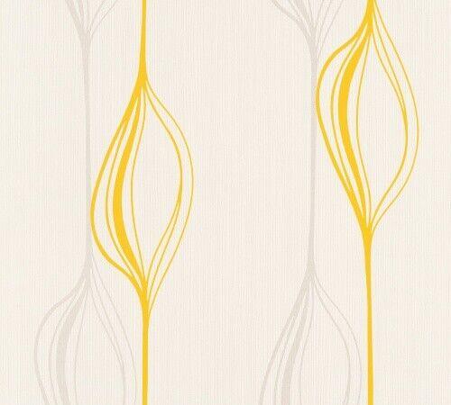 Création Papier Papier Peint Swing line jaune blanc graphique 934752 A.S