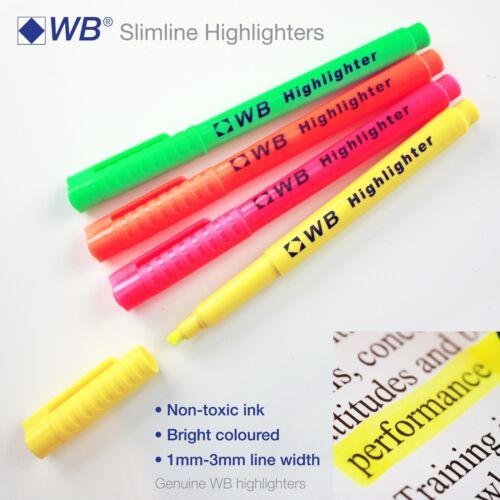 Highlighter Pens Slimline 4 Bright Colours 1-3mm Tip✔Non Toxic✔Office✔School